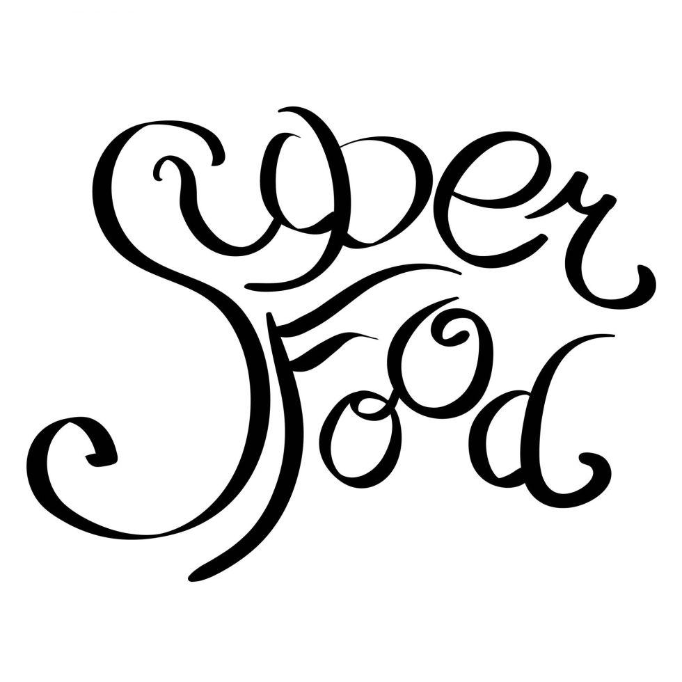 Hand written word Super Food