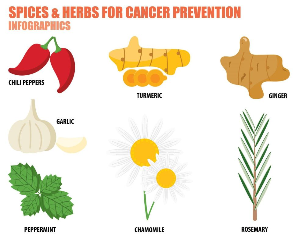 Turmeric and other cancer fighting herbs and spices infographic