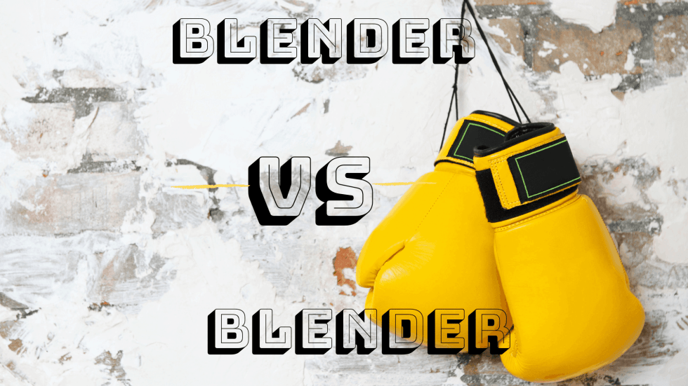 Yellow boxing gloves against a marble background with words Blender vs Blender