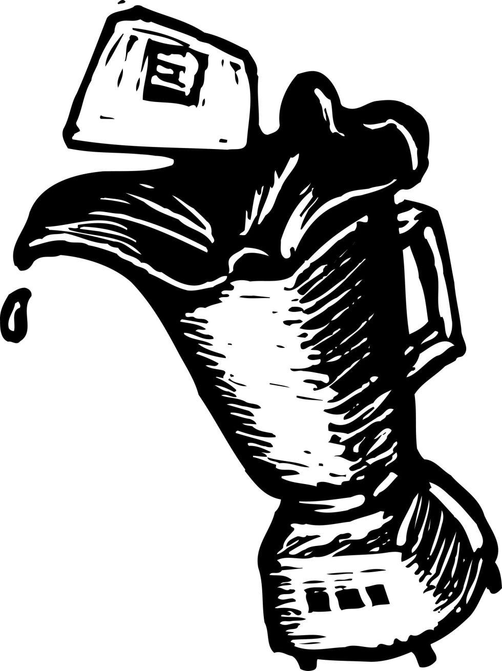 Black and white blender illustration