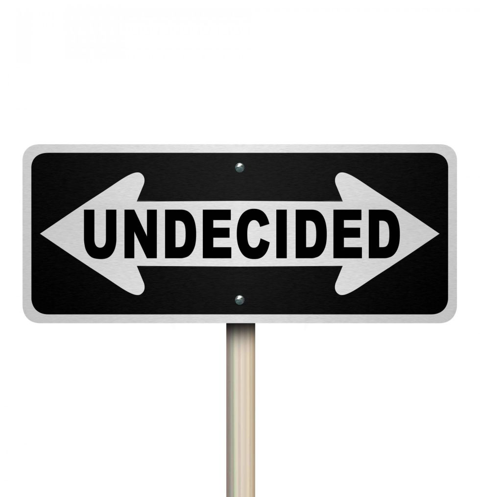 A road sign with the word Undecided and arrows pointing left and right