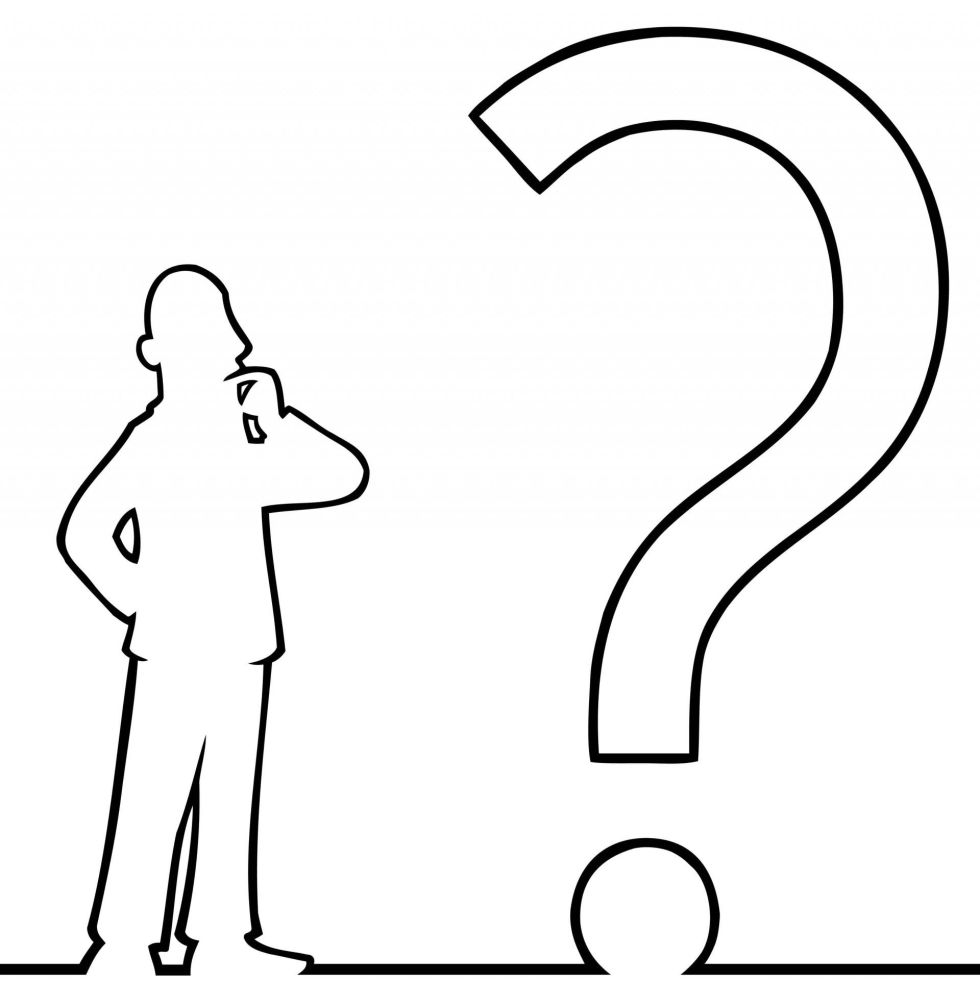 Black line art illustration of a man looking at a question mark.