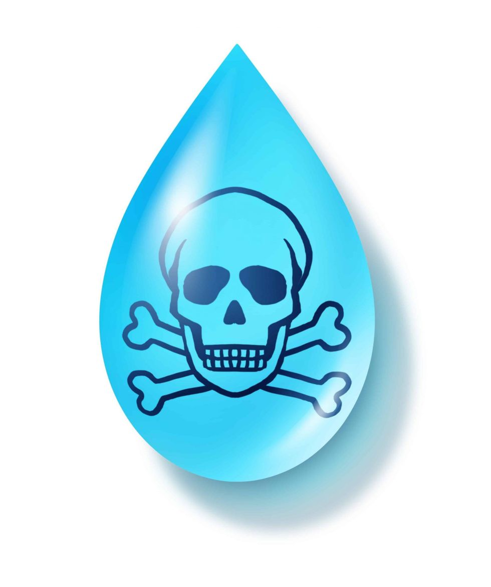 Contaminated dirty water drop symbol representing dirty drinking liquid that is infested with dangerous contaminants and toxic chemicals.