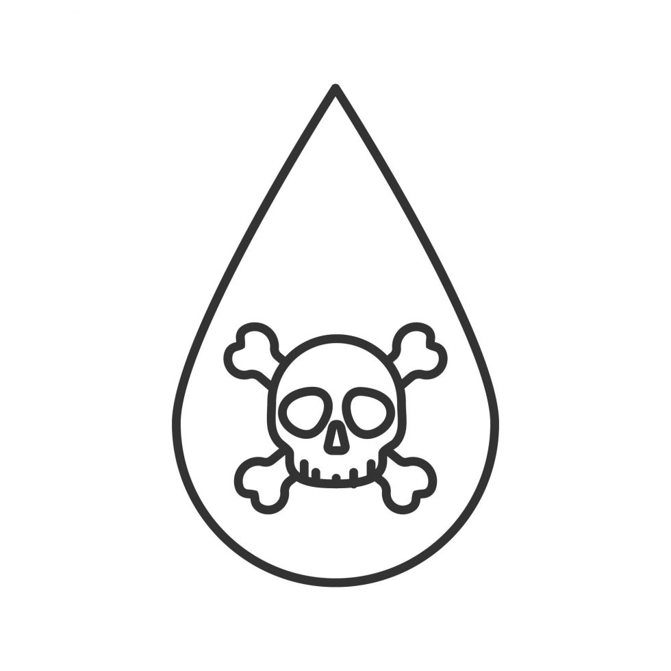 Liquid drop with skull and crossbones linear icon.