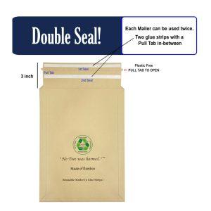 Kraft Mailers, Resealable, 2 Glue Strips, Self Sealing Bamboo Kraft Fulfillment Mailers