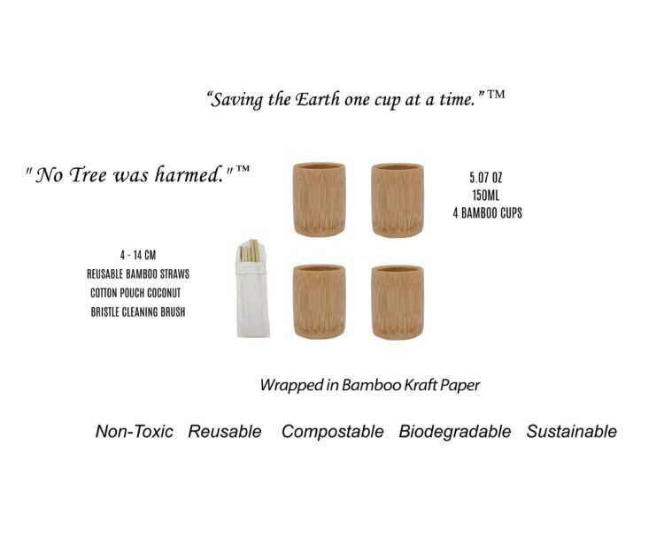 Bamboo Cups Set of 4 - 5.07 oz - 150ml