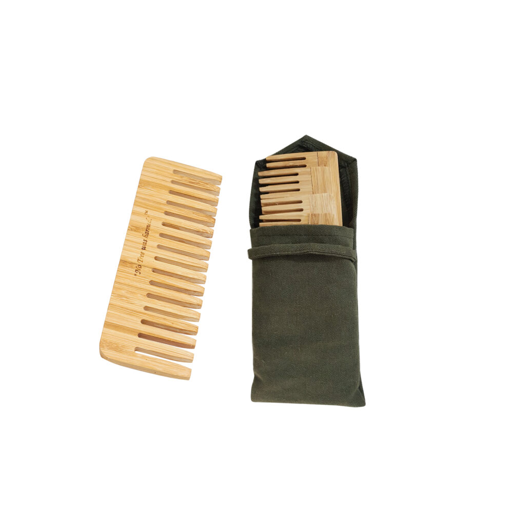 4 Wide Bamboo Combs with a Cotton Olive Bag