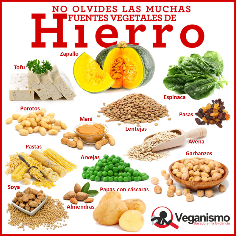 Fuentes de hierro en la dieta vegana y vegetariana