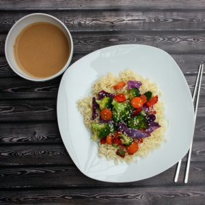 Colorful Stir-Fry with Creamy Peanut Sauce