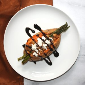 Asparagus, Chickpea, and Feta Stuffed Sweet Potatoes