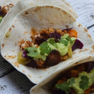 BBQ Cauliflower Tacos with Avocado Cilantro Sauce