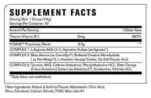 nsane patriot pop supplement facts