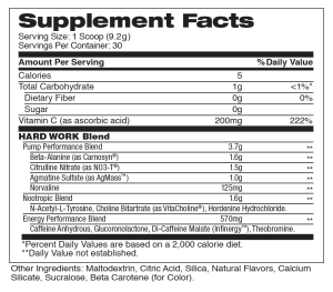 Hard Work Twisted Citrus Supplement Facts
