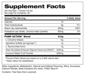 Pump Action green apple supplement facts