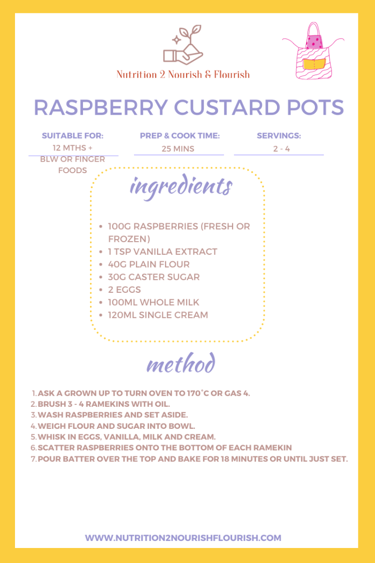 This is the recipe for raspberry custard pots