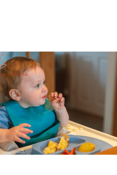 This image shows a child reaching the 6 steps to eating.