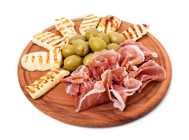 Low Carb Snacks: Cheese, Prosciutto and Olive Platter.