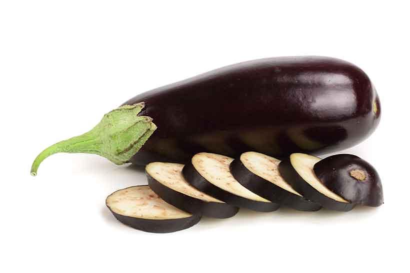 Whole and Sliced Eggplant (Aubergine).