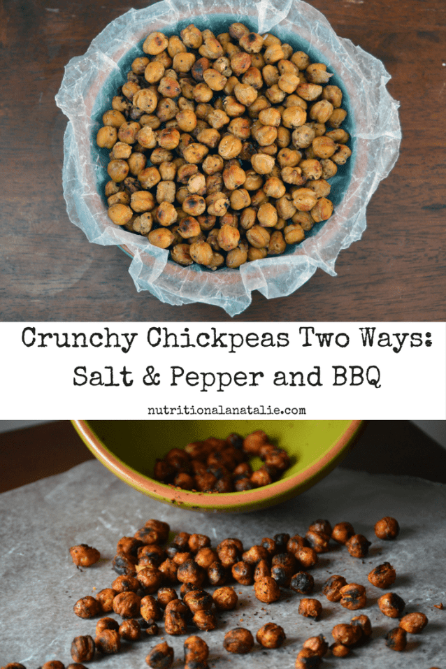 Two recipes for crunchy roasted chickpeas: salt & pepper and BBQ