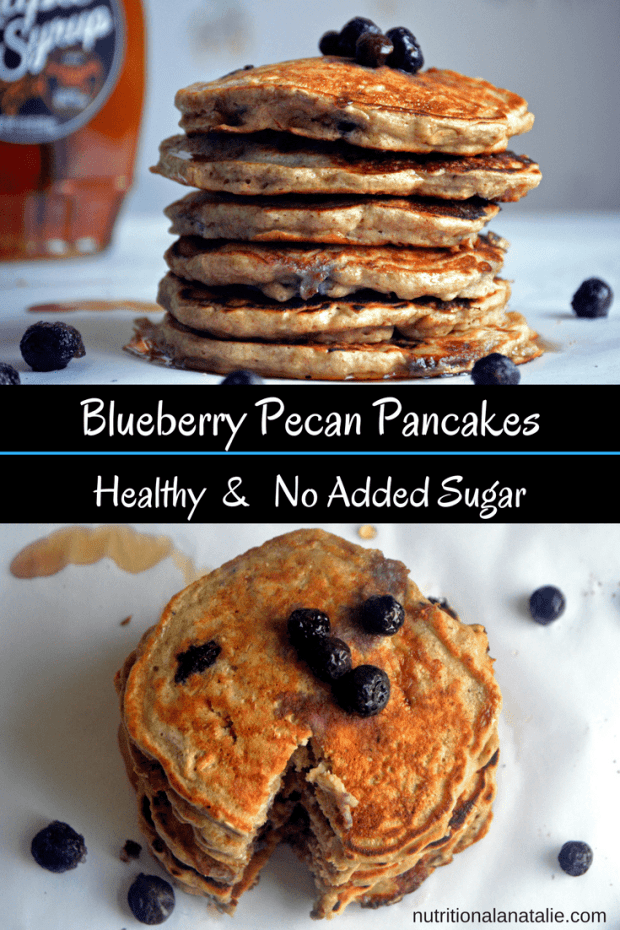 Healthy Blueberry Pancake recipe. Made with bananas and no-added sugar!