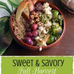 Rice bowl with brussel sprouts, cauliflower, roasted grapes and roasted pears