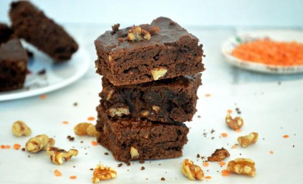 High protein lentil brownies