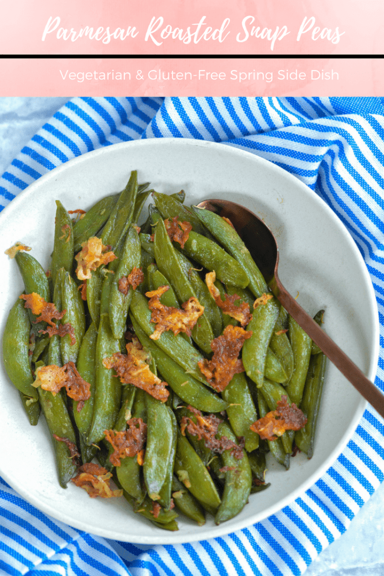 Recipe for Parmesan Roasted Snap Peas. Delicious spring side that comes together in minutes. #sidedish #protein #springrecipe #snappeas #cheesy #parmesan #healthy #lowcalorie