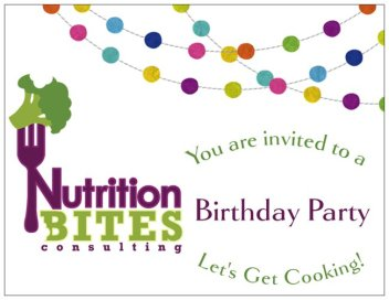 Nutrition Bites Birthday Party Invitation - Front