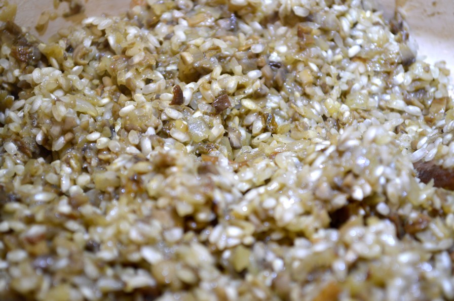 Add Aborio Rice to Mushroom & Onion Mixture