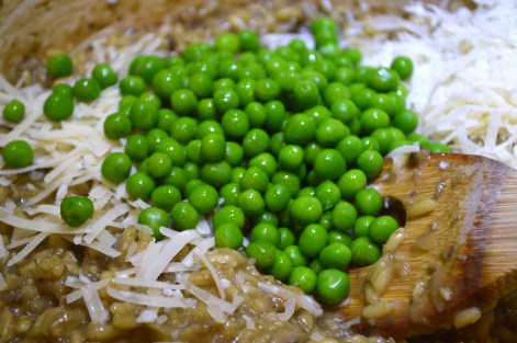 Adding Green Peas and Freshly Grated Parmesan to Risotto