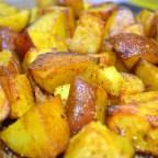 Hali Aloo, turmeric roasted potatoes found in post titled 'Achcha Khana (Good Food)'