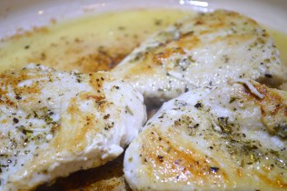 Perfectly moist skillet chicken breasts prepared for 3 Step Chicken Parmesan Pasta