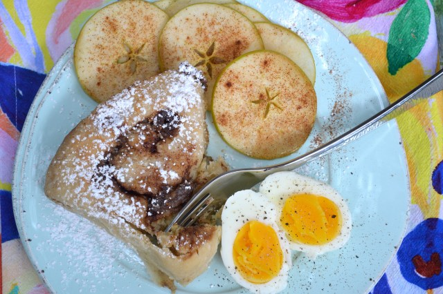 Sourdough Cinnamon Rolls with Cinnamon Sugar Apple Slices and Boiled Egg