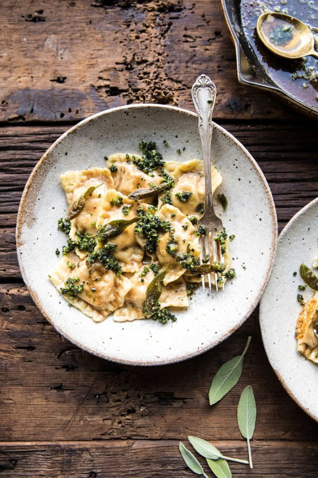ravioli photo with sage and browned butter