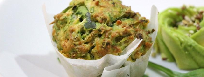 muffins verts aux épinards et cheddar