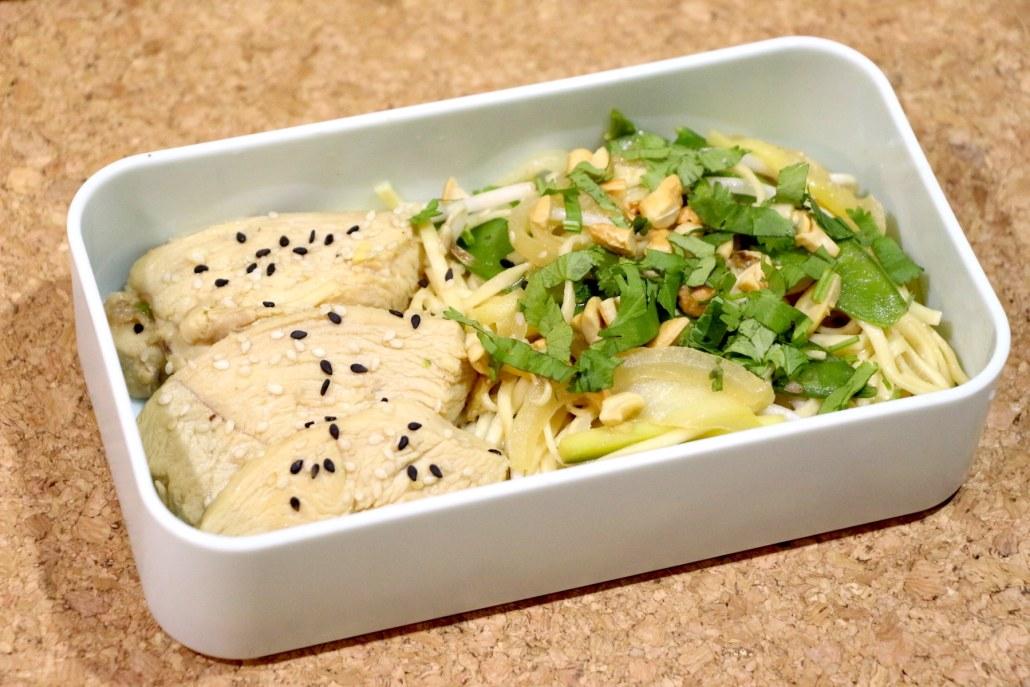 noodles au poulet mariné miel et sésame