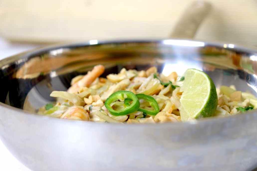 nouilles chinoises sautées aux crevettes et lait de coco