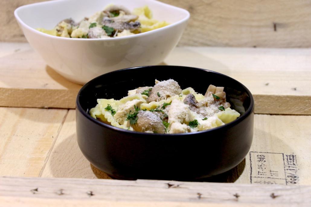 one pot pasta au poulet et champignons