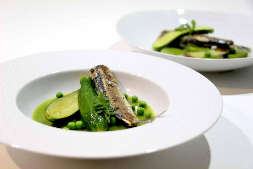 sardines grillées et velouté de petit pois
