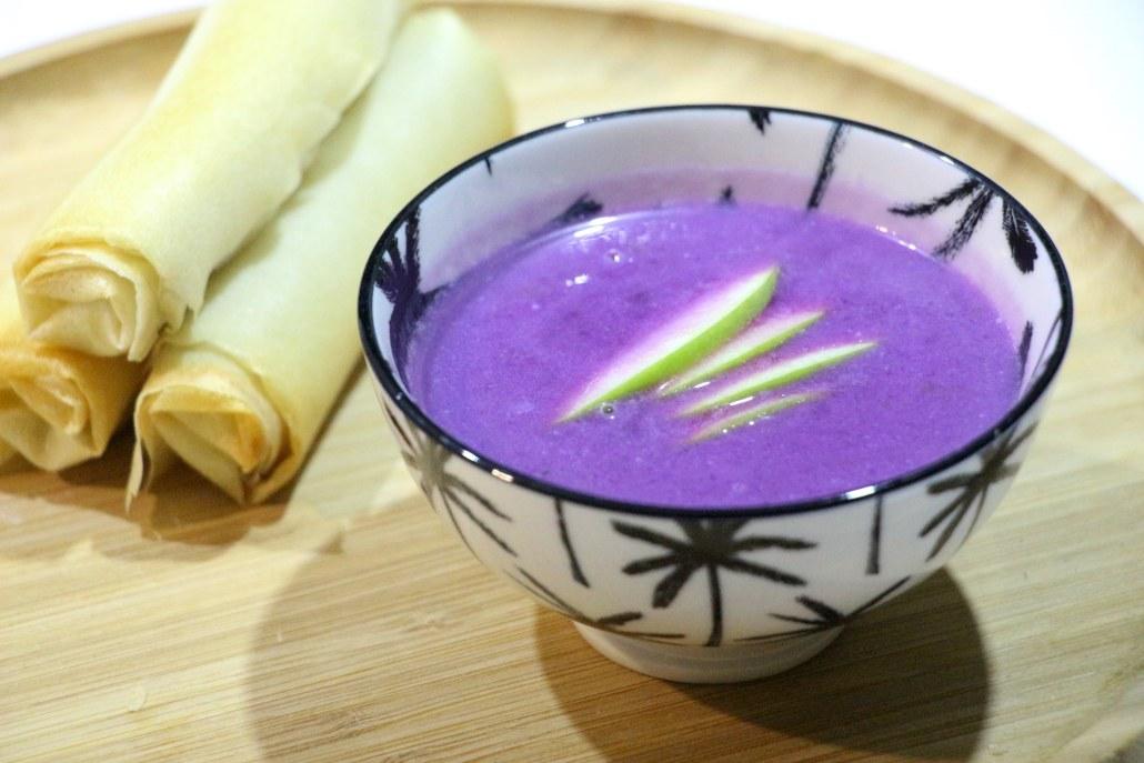 soupe violette au chou rouge et bricks