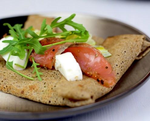 crêpes salées au saumon et poireau