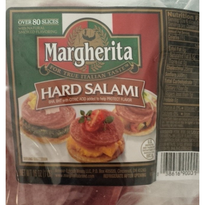 Calories in Thin Sliced Hard Salami from Great Value