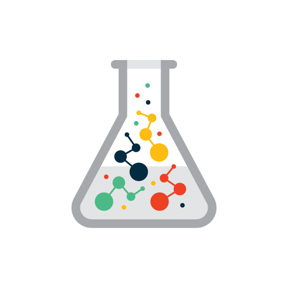 molecules inside of a erlenmeyer flask