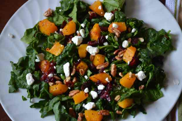 Roasted Butternut Squash and Cranberry Salad Close up