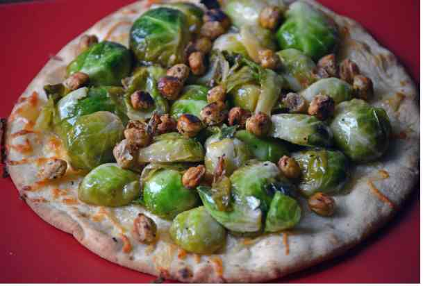 sweet orange glazed brussel sprout flatbread close up