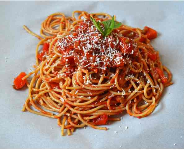 Whole Wheat Spaghetti with Hide Your Veggies %22Meat%22 Sauce 2