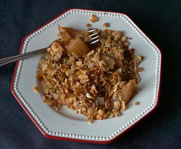Baked Almond & Oat Pear Crumble overhead