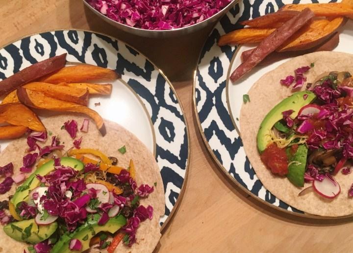 Sautéed Veggie Black Bean Tacos with Slaw