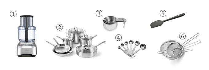 kitchen tools for basil pesto pasta