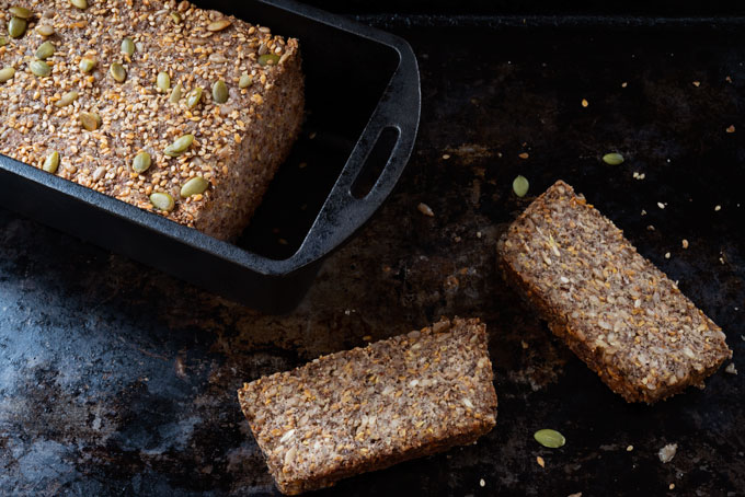 ketogenic and vegan bread with nuts and seeds